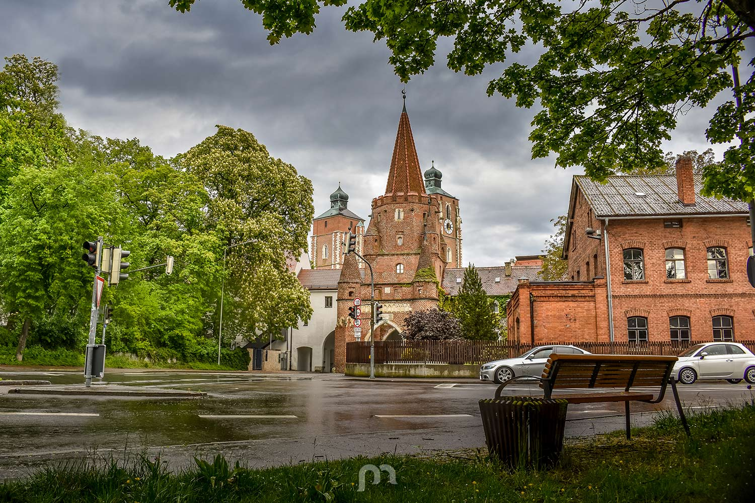 Kreuztor in rainy Ingolstadt, Germany