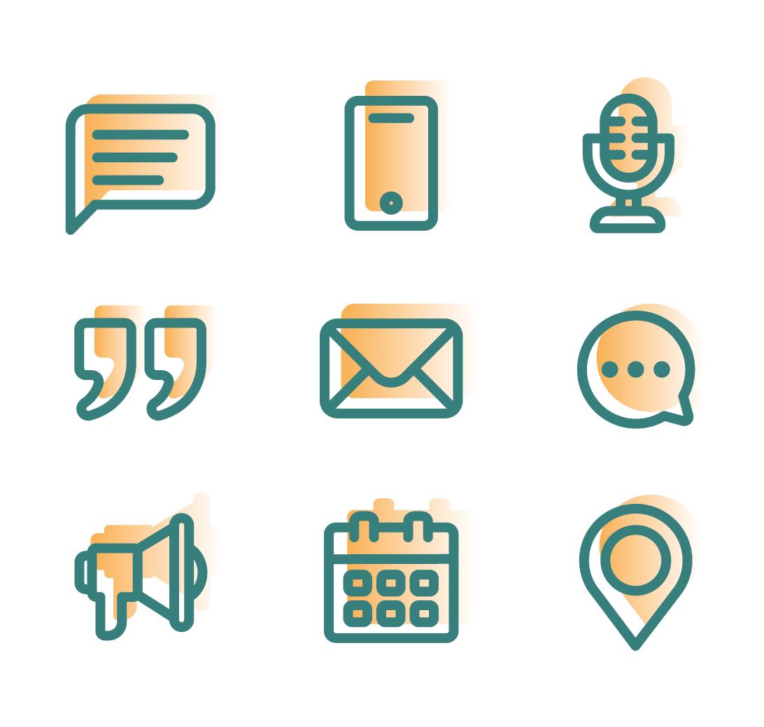 Modern communication icon pack