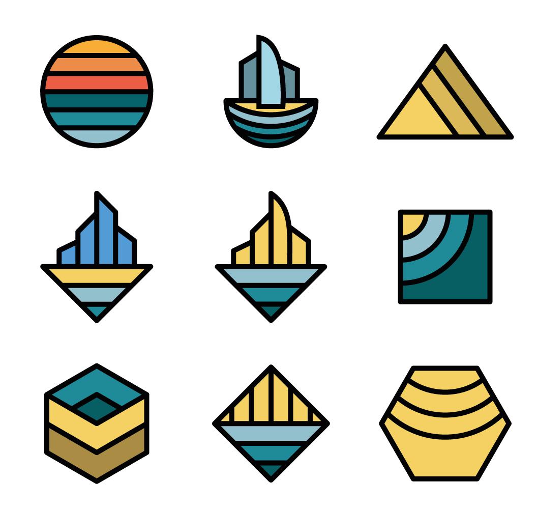 Basic shapes geometric logo set